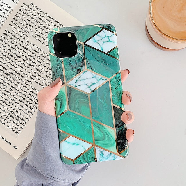 PrimeSons Geometric Marble Phone Cases For iPhone 11 Pro Max XR XS Max 6 6S 7 8 Plus X Soft IMD Electroplated Back Cover Coque