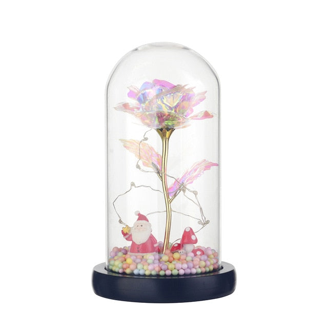 Galaxy Rose with LED Flashing In Glass Dome