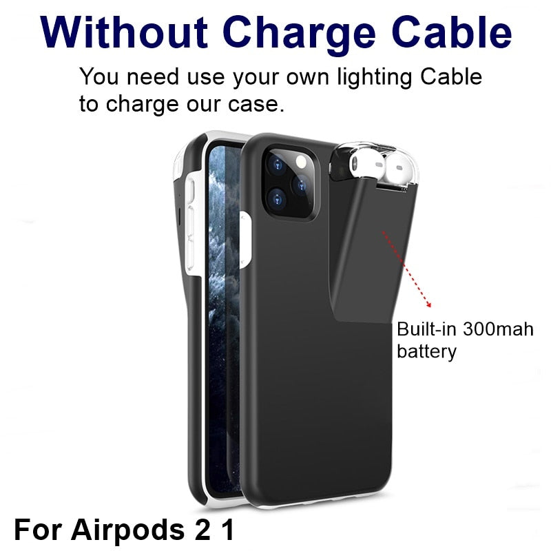 PrimeSons 2in1 iPhone Cases Plus Apple AirPods 2 1 With 300Mah Charger Case