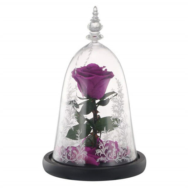 The Preserved Real Rose with LED Light in Glass Dome