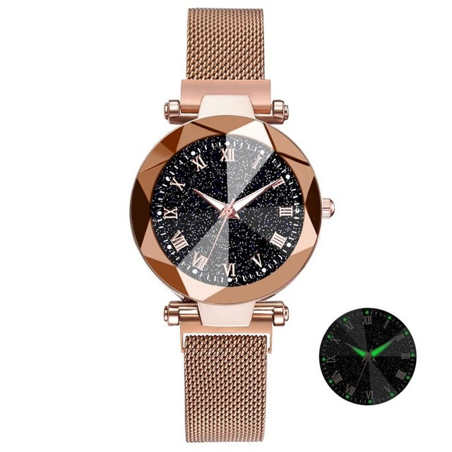 Starry Sky Stainless Steel Mesh Bracelet Watches For Women