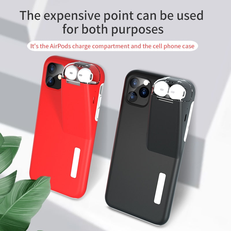 PrimeSons 2in1 iPhone Cases Plus Apple AirPods 2 1 With 300Mah Charger Box
