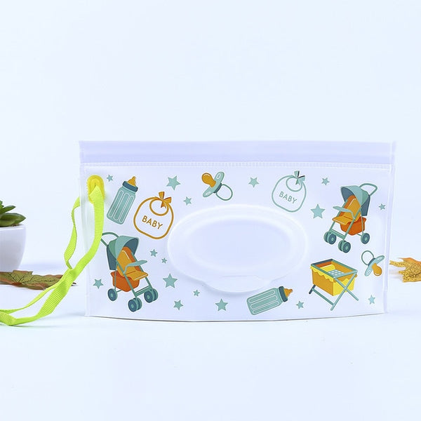 Cartoon Print Baby Wet Wipes Bag Reusable Container For Baby Skin Care Travel Wipes Bag