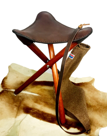Leather Saddle Seat Chair Brown