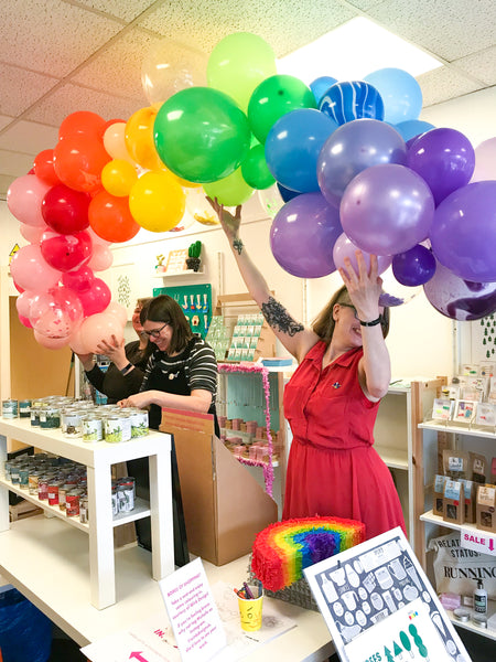 Charm Jewellery Launch Party Rainbow Balloon Arch