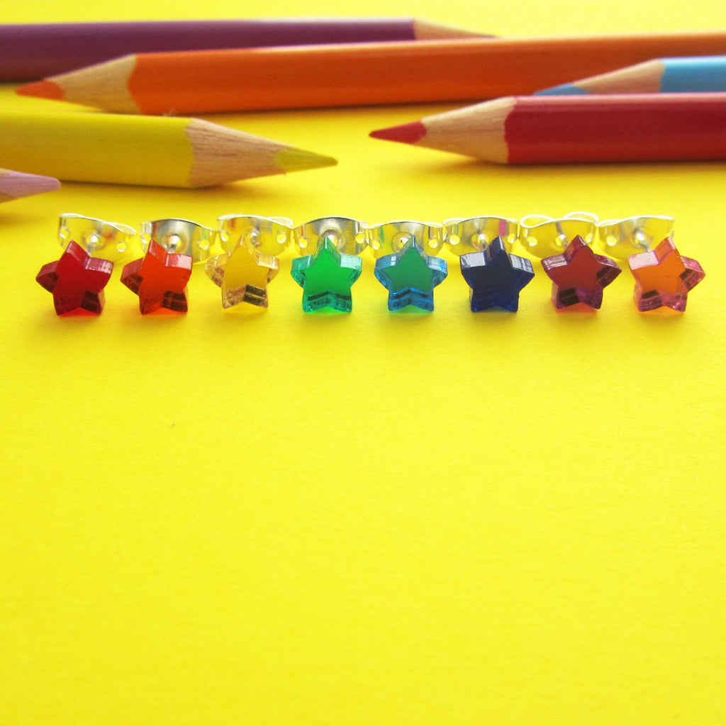 Tiny Mirror Star Stud Earrings - Hand Over Your Fairy Cakes - hoyfc.com