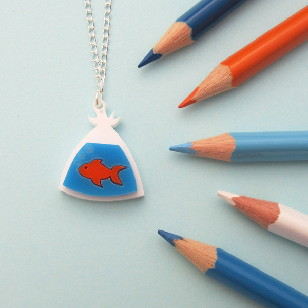 Fish In A Bag Necklace - Hand Over Your Fairy Cakes - hoyfc.com