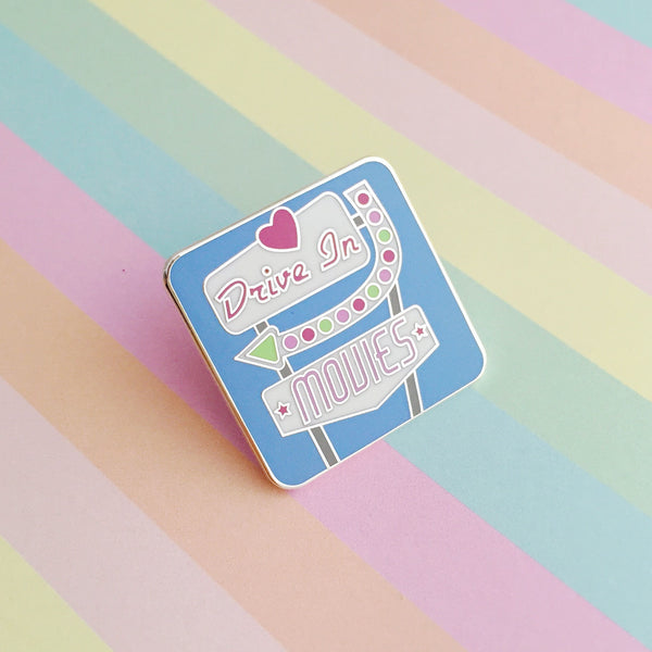 Drive In Movies Retro Sign Enamel Pin
