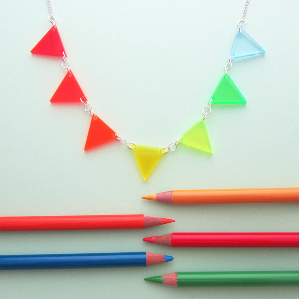 Neon Triangles Necklace - Hand Over Your Fairy Cakes - hoyfc.com