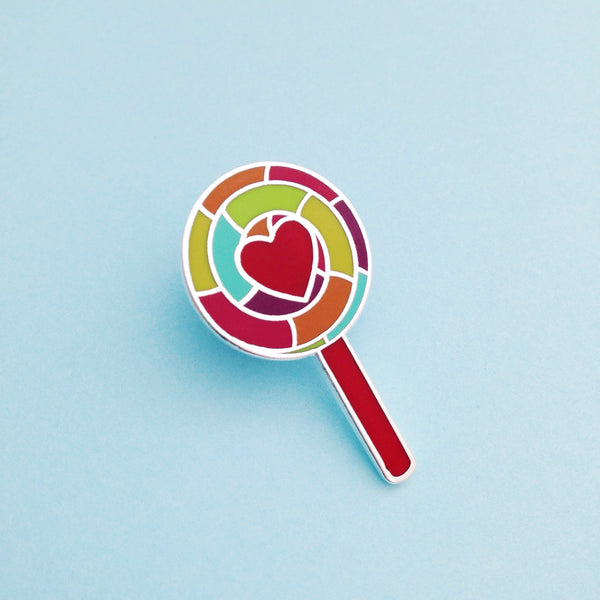 Retro Rainbow Lollipop Enamel Pin