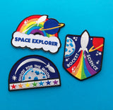 Shoot For The Moon Rainbow Rocket Patch - Hand Over Your Fairy Cakes - hoyfc.com