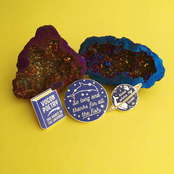 Hitchhikers Guide To The Galaxy - Enamel Pin Set - Hand Over Your Fairy Cakes - hoyfc.com