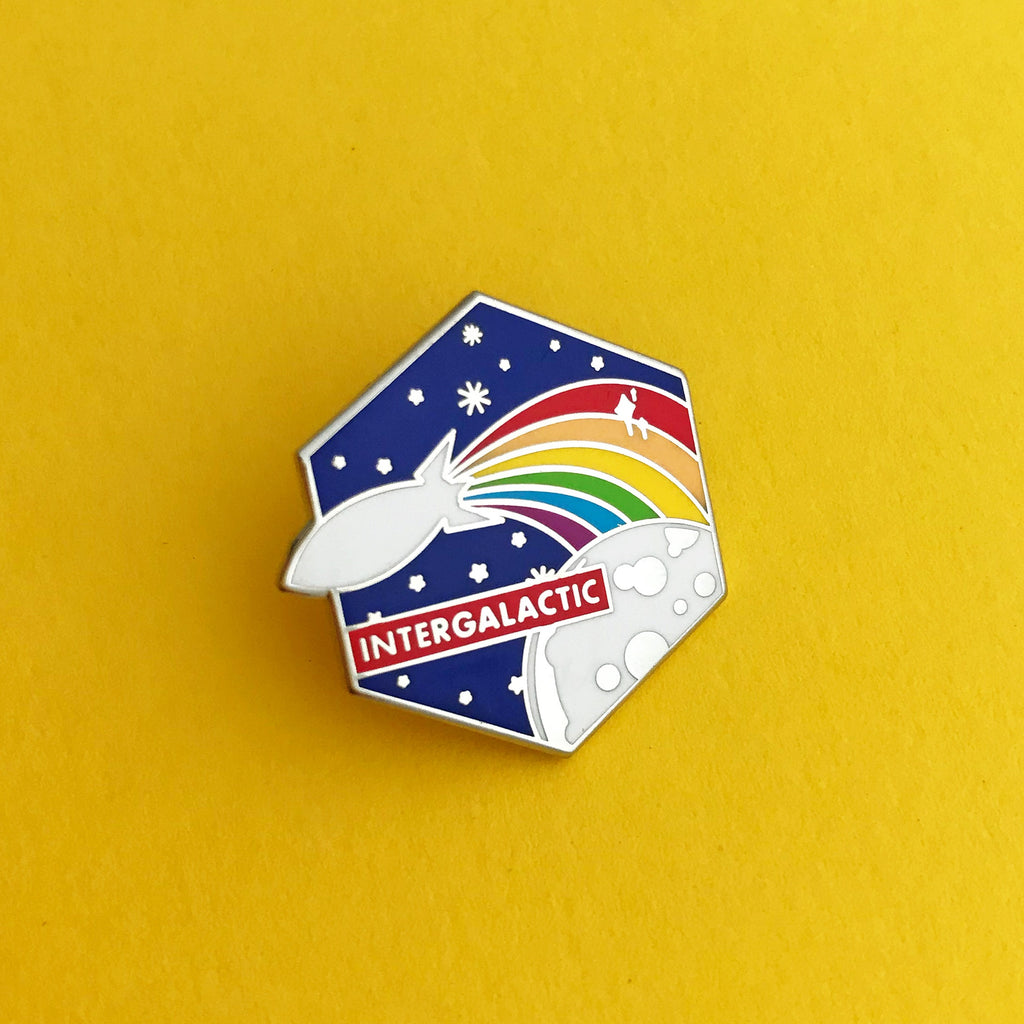 Intergalactic Rainbow Rocket Enamel Pin - Hand Over Your Fairy Cakes - hoyfc.com