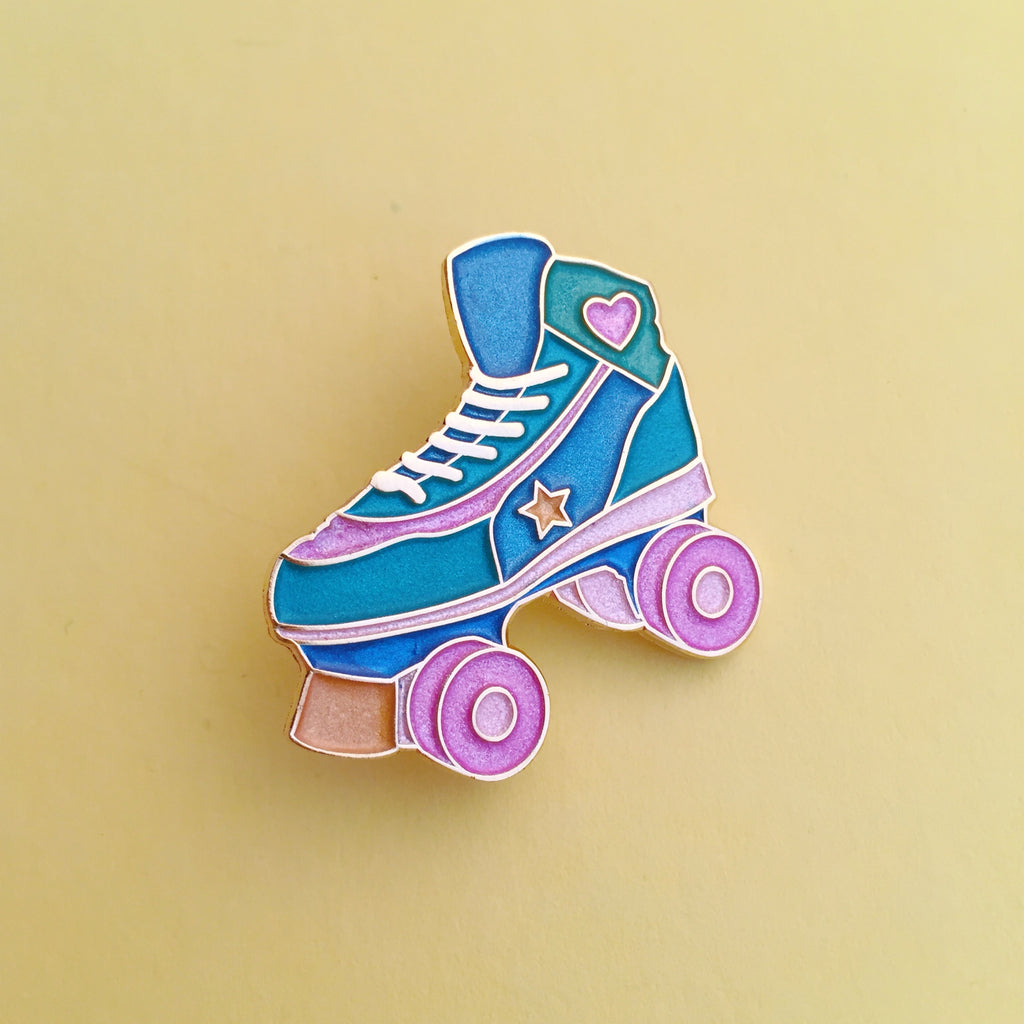 Roller Skate Pastel Pearl Enamel Pin - Hand Over Your Fairy Cakes - hoyfc.com