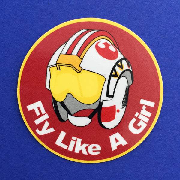 Fly Like A Girl Vinyl Sticker - Hand Over Your Fairy Cakes - hoyfc.com