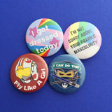 I'm Not Sorry About Your Fragile Masculinity Button Badge - Hand Over Your Fairy Cakes - hoyfc.com