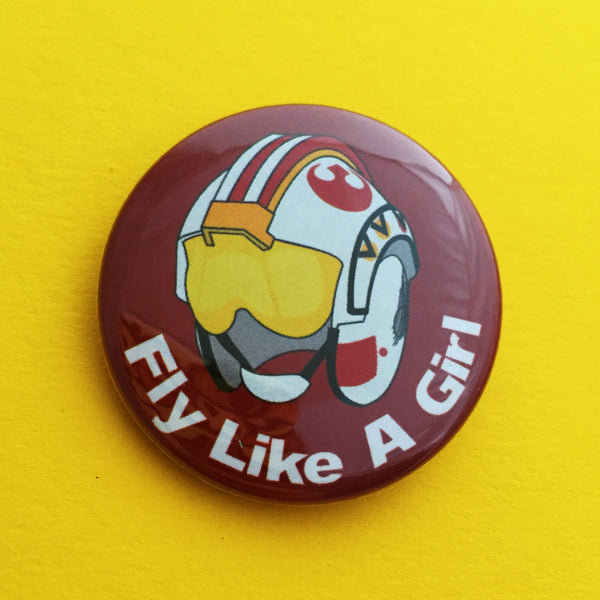 Fly Like A Girl Button Badge - Hand Over Your Fairy Cakes - hoyfc.com