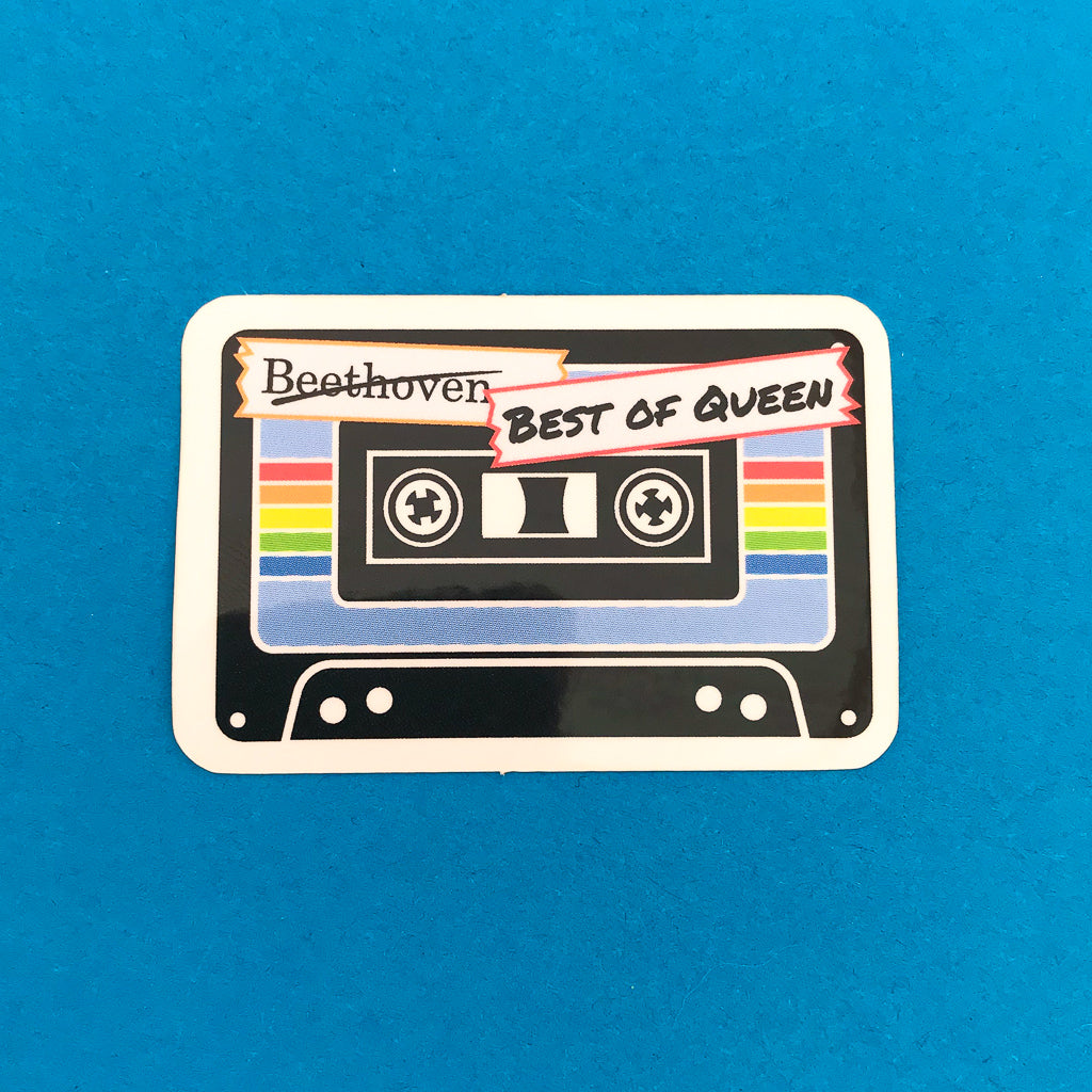"""Best of Queen"" Tape (Good Omens) Vinyl Sticker - Hand Over Your Fairy Cakes - hoyfc.com"