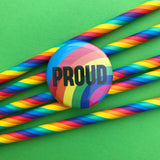 Proud Rainbow Button Badge - Hand Over Your Fairy Cakes - hoyfc.com