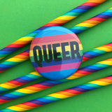 Queer Rainbow Button Badge - Hand Over Your Fairy Cakes - hoyfc.com