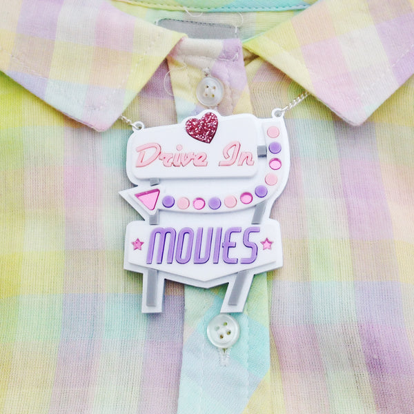 Drive In Movies Retro Sign Necklace