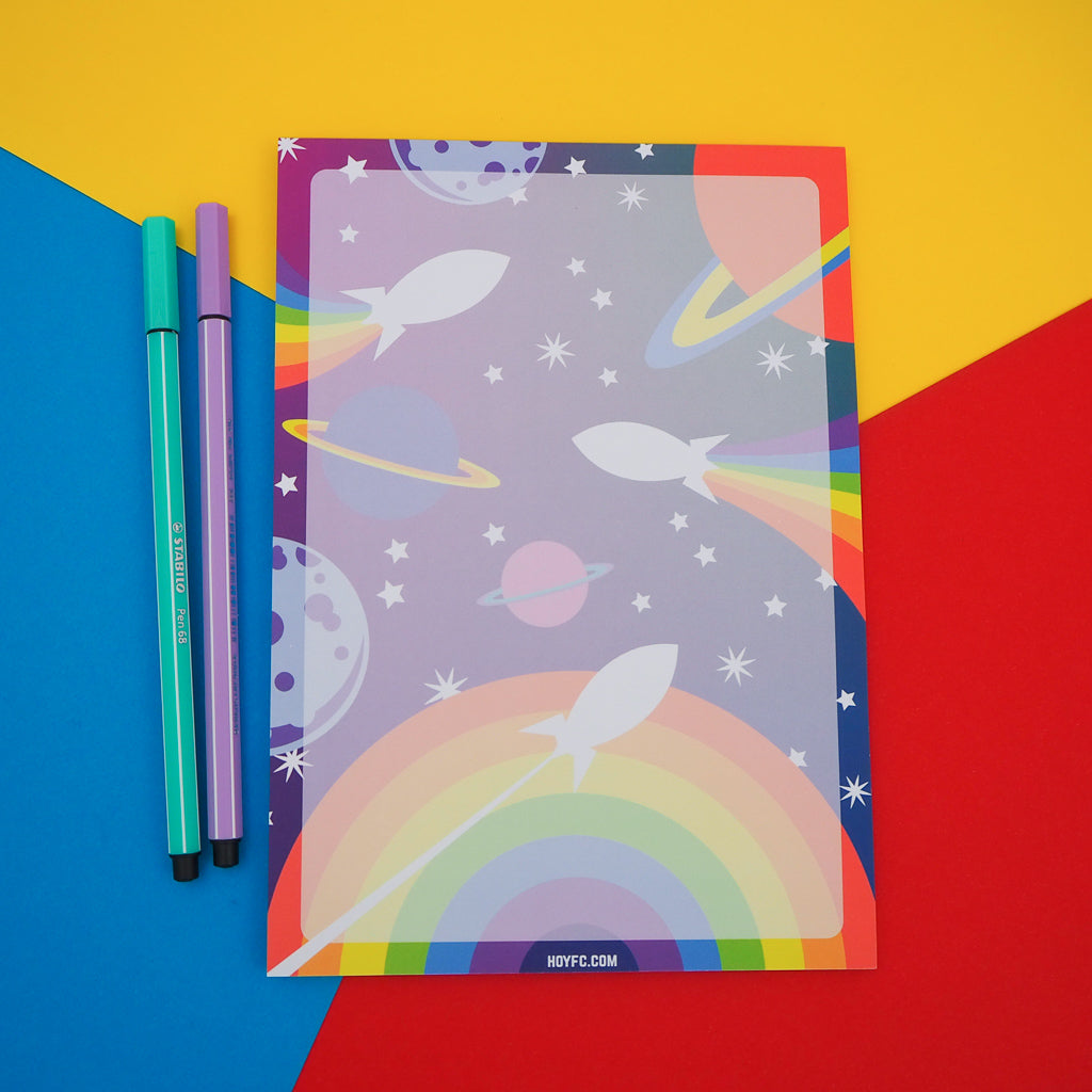 Rainbow Rocket A5 Notepad - Hand Over Your Fairy Cakes - hoyfc.com