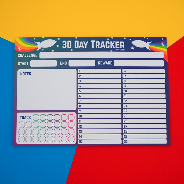 Rainbow Rocket 30 Day Tracker A4 Notepad - Hand Over Your Fairy Cakes - hoyfc.com