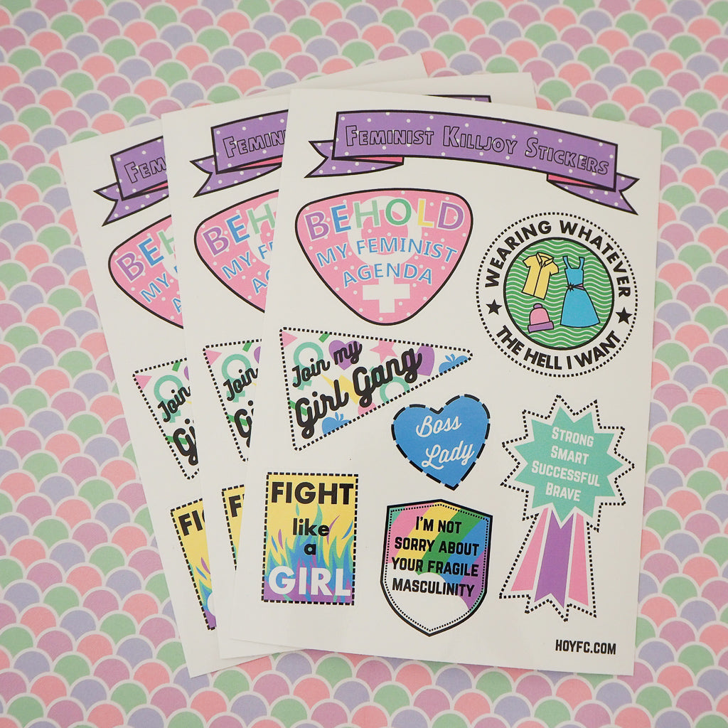 Feminist Killjoy Sticker Sheet - Hand Over Your Fairy Cakes - hoyfc.com