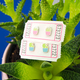 Pink Cactus Stud Earrings - Hand Over Your Fairy Cakes - hoyfc.com