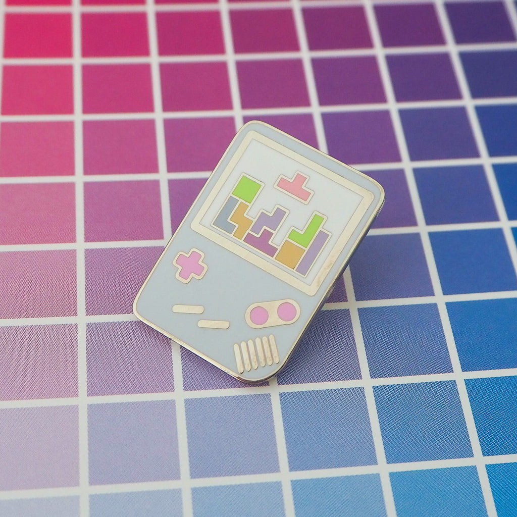 Pastel Gameboy Tetris - Enamel Pin - Hand Over Your Fairy Cakes - hoyfc.com