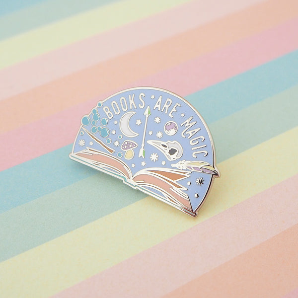 Books are Magic Enamel Pin - Hand Over Your Fairy Cakes - hoyfc.com
