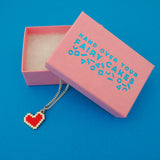 Pixel Heart Charm Necklace - Hand Over Your Fairy Cakes - hoyfc.com