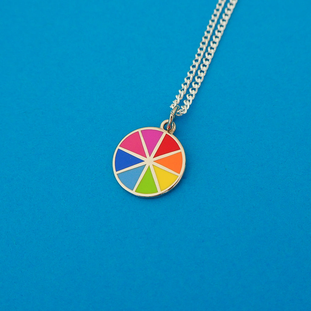 Bright Colour Wheel Charm Necklace