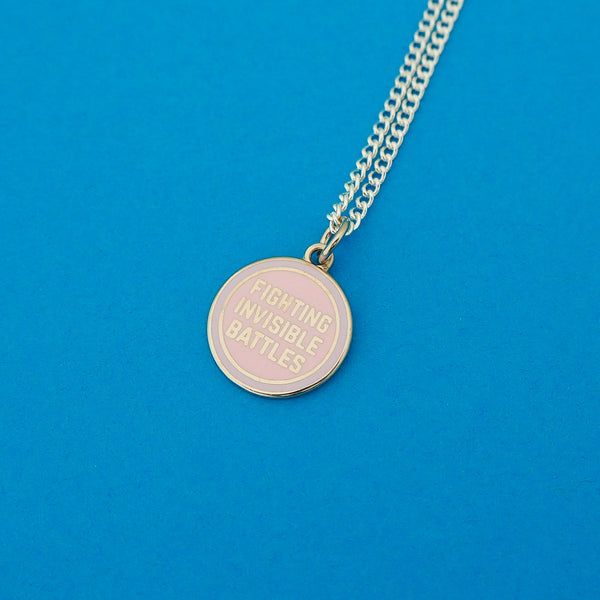 Fighting Invisible Battles Charm Necklace - Hand Over Your Fairy Cakes - hoyfc.com