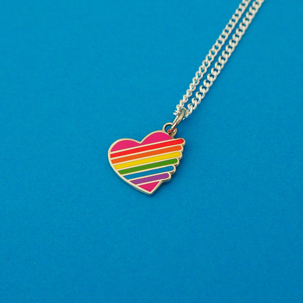 Rainbow Heart Charm Necklace - Hand Over Your Fairy Cakes - hoyfc.com