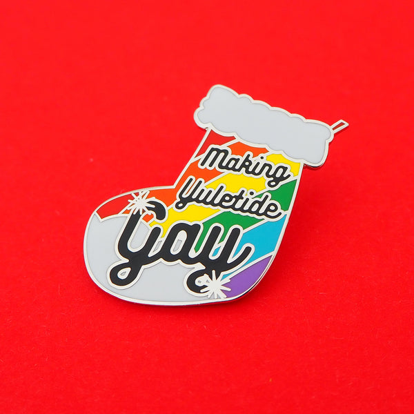Making Yuletide Gay Enamel Pin - Hand Over Your Fairy Cakes - hoyfc.com