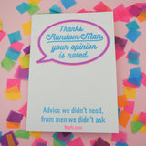 """Thanks Random Man, Your Opinion Is Noted"" Riso Printed Zine"