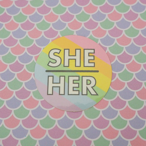 She/Her Pronoun Vinyl Sticker - Hand Over Your Fairy Cakes - hoyfc.com