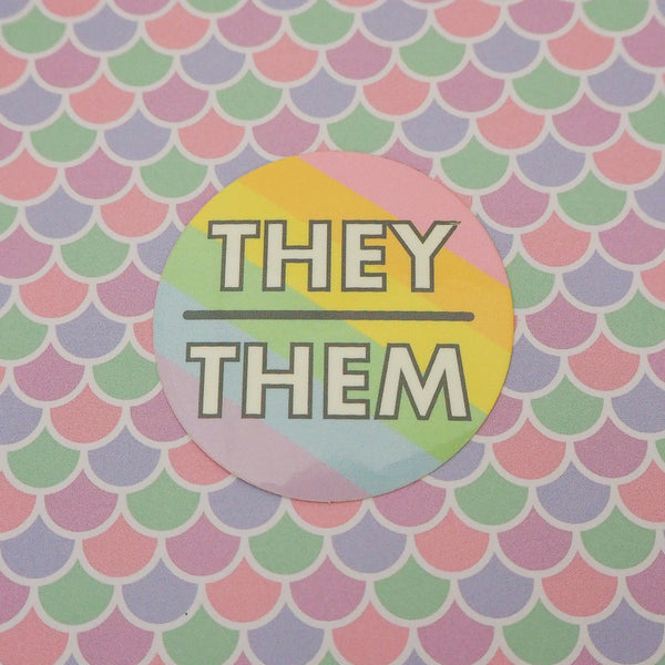 They/Them Pronoun Vinyl Sticker - Hand Over Your Fairy Cakes - hoyfc.com