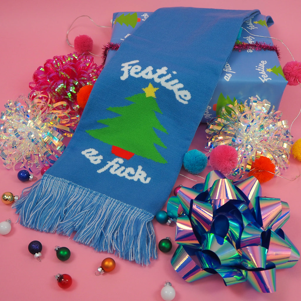 Festive As Fuck Christmas Tree Scarf - Hand Over Your Fairy Cakes - hoyfc.com