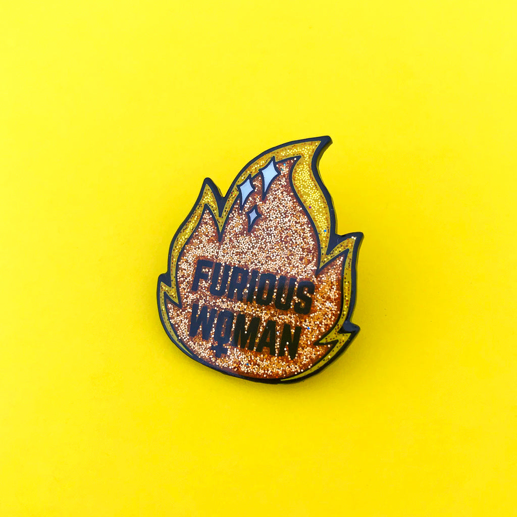Furious Woman Glitter Enamel Pin - Hand Over Your Fairy Cakes - hoyfc.com
