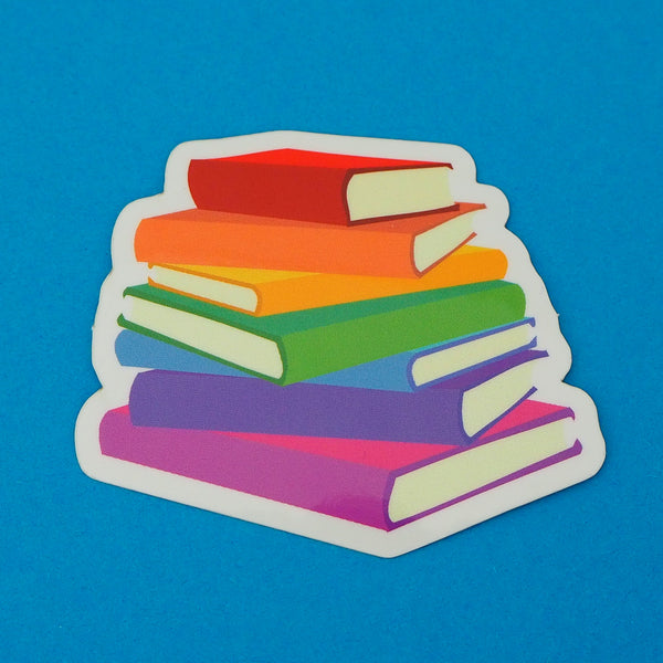 Rainbow Book Stack - Vinyl Sticker