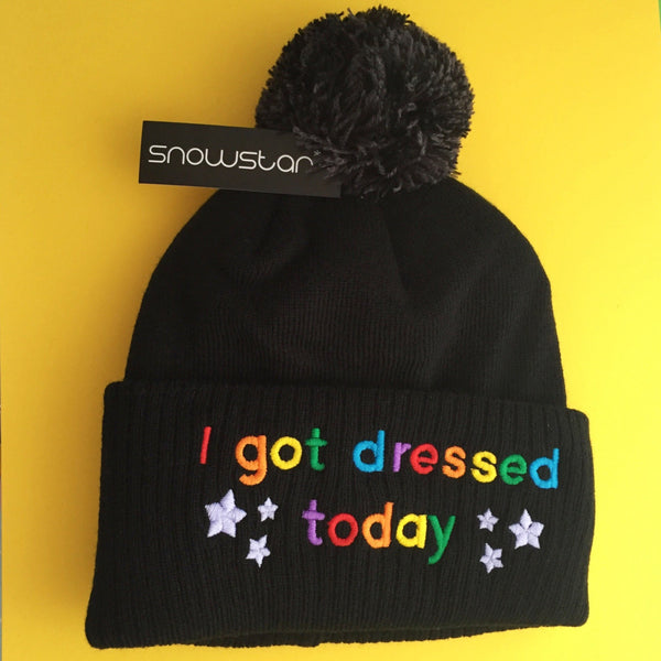 """I Got Dressed Today"" Beanie Bobble Hat - Hand Over Your Fairy Cakes - hoyfc.com"