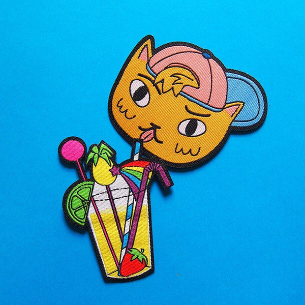 Cat and Cocktail Iron On Patch Set (Collaboration with I Like Cats) - Hand Over Your Fairy Cakes - hoyfc.com