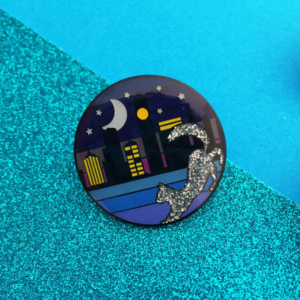 Cat Ombre Cityscape - Glitter Enamel Pin - Hand Over Your Fairy Cakes - hoyfc.com