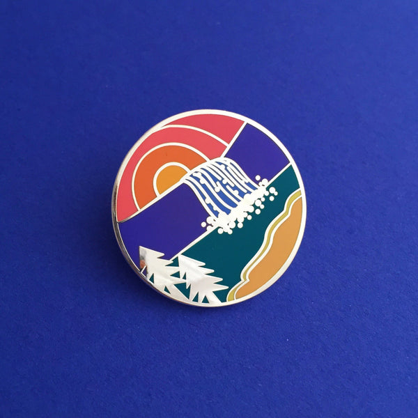 Sunset Waterfall - Enamel Pin (Collaboration with Jen Cunningham) - Hand Over Your Fairy Cakes - hoyfc.com
