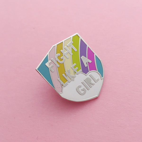 Fight Like A Girl Pastel Rainbow Enamel Pin