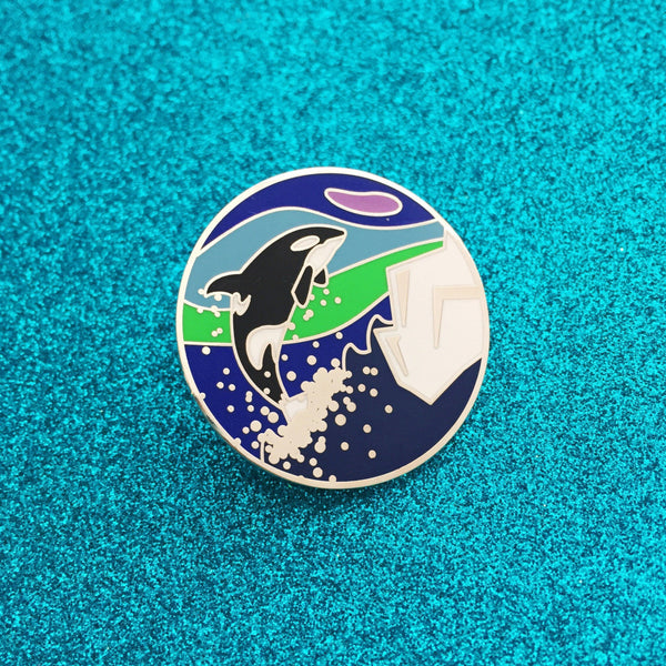 Iceland Orca Northern Lights Enamel Pin