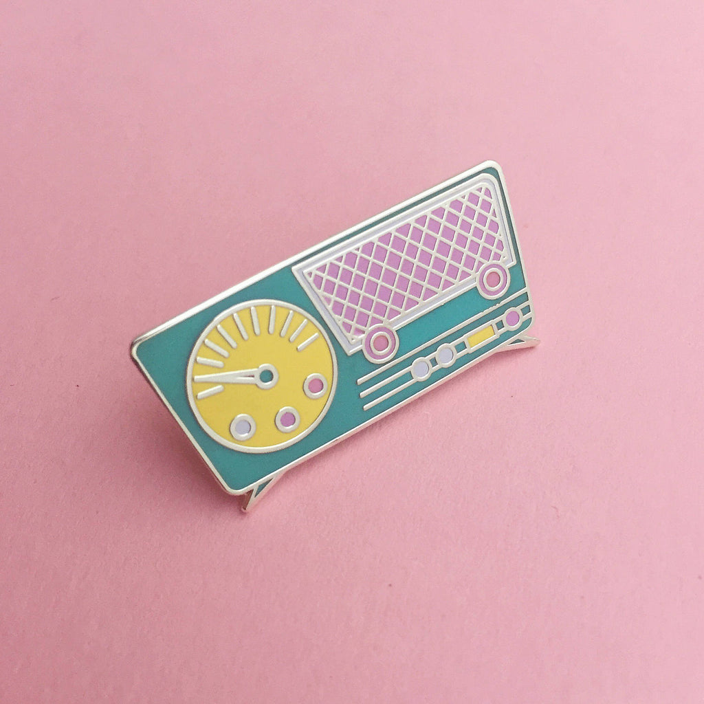 Retro Pastel Radio Enamel Pin - Hand Over Your Fairy Cakes - hoyfc.com