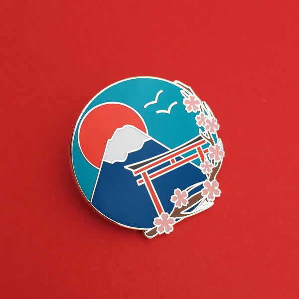 Japan Mount Fuji Cherry Blossom - Enamel Pin - Hand Over Your Fairy Cakes - hoyfc.com